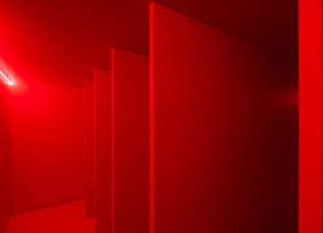 Lucio Fontana Spatial Environment in Red Light, 1967/2019 Reconstruction authorized by Fondazione Lucio Fontana – project Pirelli HangarBicocca 2017 © 2018 Fondazione Lucio Fontana/Artists Rights Society (ARS), New York/SIAE, Rome