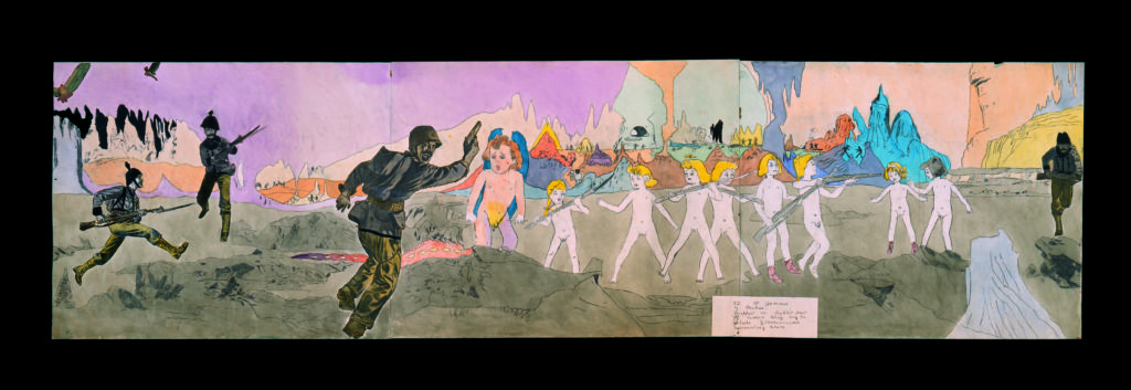 At Jennie Richee. Trapped in lighted part of cavern they try to elude Glandelinians surrounding them, Henry Darger © Kiyoko Lerner